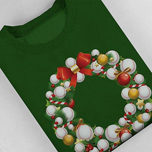 Christmas Baseball Wreath Women's Sweatshirt Bottle Green
