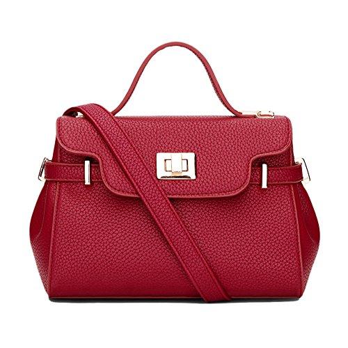 PU Messenger Bag Ornamenti metallici decorativi Borsa A Tracolla Semplice Donna Pink Gomma Rossa