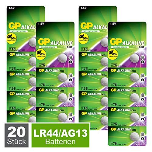 GP Extra Knopfzellen LR44 Alkaline Batterien A76 / AG13, 1,5V (Spannung 1,5 Volt) 20 Stück Knopfbatterien quecksilberfrei (einzeln entnehmbar)