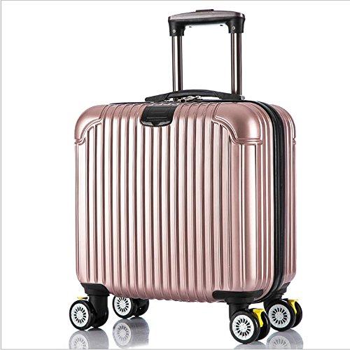 Xiuxiandianju ABS valigia nel viaggio di brigata di leve caster impermeabile borse valigia diverse dimensioni - 17 pollici , days blue , 17 inch rose gold