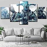 Angle&H 5 Pezzi Componibile Immagine Gioco Warframe Warrior Manifesto Arte Muraria Casa Decorativo Tela Stampa Pittura,B,25x40x2+25x60x1+25x50x2