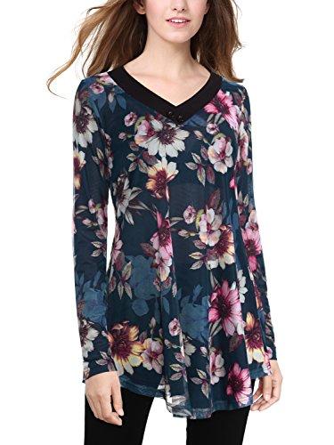 BAISHENGGT Damen Blumenmuster V-Ausschnitt Bluse Tunika Langarmshirt Blau