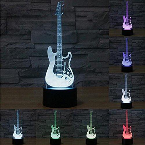 Creativa luz 3D guitarra eléctrica modelo Illusion 3d lámpara LED 7 colores cambiantes USB sensor táctil escritorio luz de noche
