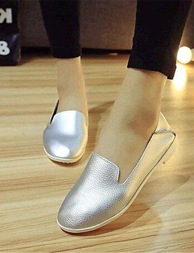 ZQ gyht Scarpe Donna-Mocassini-Tempo libero / Casual-Comoda-Piatto-Finta pelle-Nero / Bianco / Argento , silver-us9 / eu40 / uk7 / cn41 , silver-us9 / eu40 / uk7 / cn41 silver-us9 / eu40 / uk7 / cn41