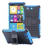 ECENCE Handyhülle Schutzhülle Outdoor Case Cover kompatibel für Sony Xperia M4 Aqua Handytasche Blau 22030301