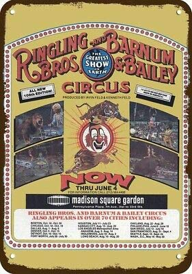 Laptopo 1978 Ringling Brothers & Barnum & Bailey Circus Vintage Look Replica Metal Sign