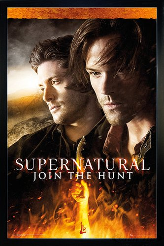 Close Up Supernatural Poster Fire (66x96,5 cm) gerahmt in: Rahmen schwarz