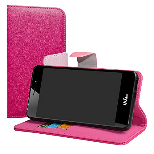 LiuShan Wiko Tommy 3 Hülle, Brieftasche Handyhülle Schutzhülle PU Leder mit Kartenfächer & Standfunktion für Wiko Tommy 3 Smartphone (mit 4in1 Geschenk verpackt),Pink