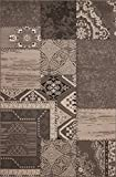 Kayoom Moderner Designer Teppich USA - Los Angeles Silber mit Patchwork Optik, Größe:80x150cm