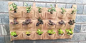 Bio Blooms Vertical Garden Plant Growing Container Bag Made of Jute, Wall Hanging Natural Planter 1 pc with18 Small Pockets (3 Rows x 6 Pockets) Bio_300V