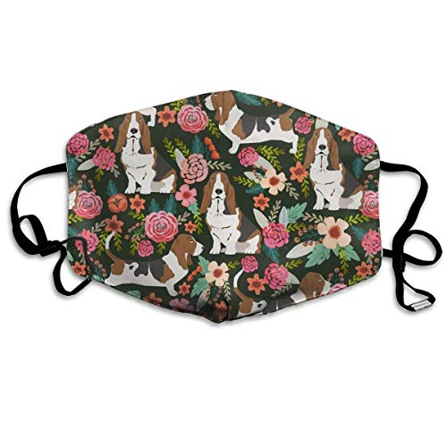Face Masks Crazy Basset Hound Florals Earloop Mouth Masks - Adjustable Elastic Band for Outdoor Cycling, Anti Virus Dustproof Face and Nose Cover, Half Face Mouth Mask/Cover -