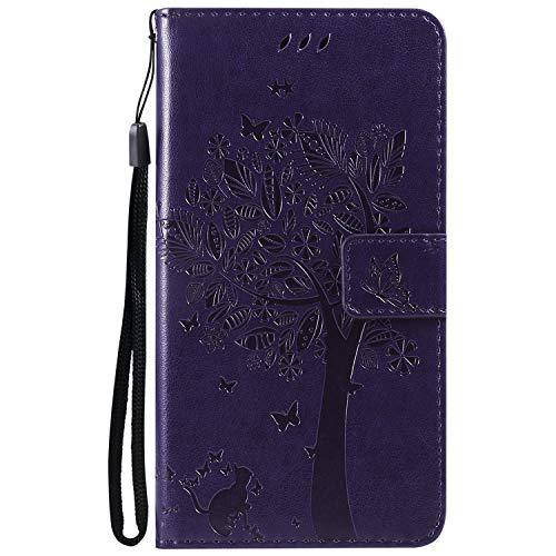NEXCURIO [LG X Power 2] Hülle Leder, Handyhülle Tasche Leder Flip Case Brieftasche Etui mit Kartenfach Stoßfest Kratzfest Schutzhülle für LG X Power2 (LGM320N) - NEKTU13845 Violett