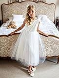 Sly Zauberhaftes Mädchen Kleid Kommunion Hochzeit Festlich Blumenmädchen Party Einschulung Strasssteinchen Tüll Weiß Größe 128 -