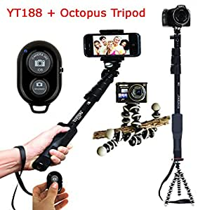 Everything Imported Yunteng YT-188 With Telescopic Tripod And Bluetooth Shutter Expendable Camera Shooting Handheld Monopod Tripod Mount Holder for Iphone 6plus 6 5s 5c 5 4s 4 Ipod Etc. (Model YT-188)