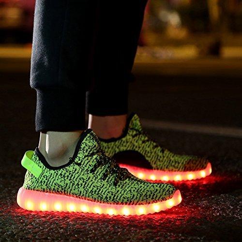 COOLER®Cuir Chaussures LED clignotante rechargeable basket lumineuse chaussures de sport en couleur noir/blanc pour Femme/Homme vert