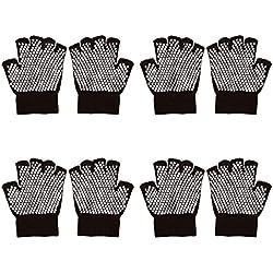 Bundle Monster 4pk anti-antideslizante de protección para los dedos funda de punto para mayor agarre con punta de negro guantes de Yoga