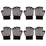 Bundle Monster 4pk Anti-Slip Extra Grip Finger Tipped Knitted Black Yoga Gloves
