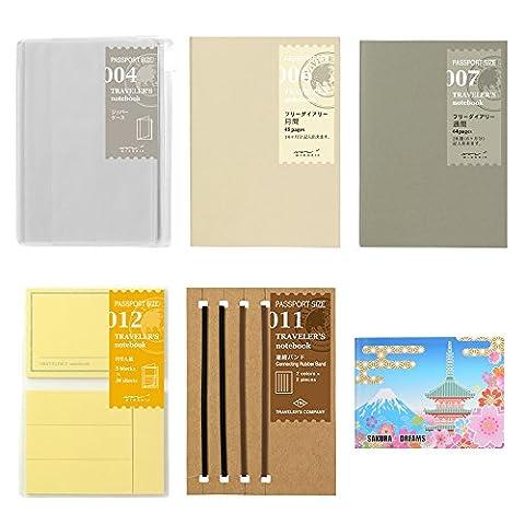Midori Traveler's Notebook Passport Size ,5- Refill BUNDLE SET /