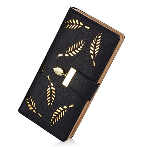 Easy Go Shopping Frauen Long Leaf Bifold Wallet Leder Kartenhalter Clutch Wallet Zipper Buckle Handtasche. (Farbe : Schwarz, Size : 19x 9.5x3.5 cm) -