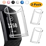CAVN Compatible with Fitbit Charge 3 Screen Protector Case [2-Pack], Chargeable Protective Case Bumper Flexible TPU Slim Full Protection Shatter-Resistant Shock-proof Screen Case Cover, Clear & Clear