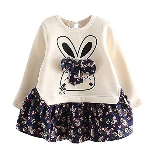 Proumy ◕ˇ∀ˇ◕ Kleinkind Kinder Mädchen Cartoon Kaninchen Hase Floral Prinzessin Party Kleid Kleidung Mädchen Kleid Floral Bowknot Rock Langarm gespleißt Kleid(Blau,3 Years) (Denim Mädchen Floral)