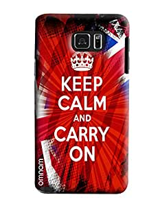 Omnam Keep Calm And Carry On Printed Designer Back Cover Case For Samsung Galaxy Note 5