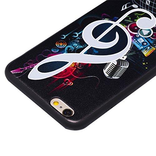 iPhone 6Plus Coque, iPhone 6s Plus Coque, Ultra mince antichoc souple en gel TPU Bumper souple en caoutchouc de silicone de protection Peau avec anti-rayures pour Apple iPhone 6Plus/6s Plus 14cm iP Music Symbol