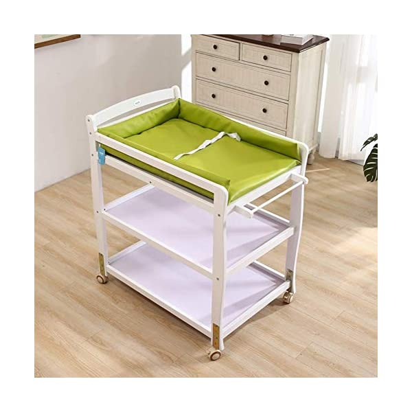 Baby Changing Table Wooden On Wheels - Infant Newborn Nursery Mobile Diaper Station Height Adjustable, Baby Cot (Color : Green) GUYUE 3-gear higth adjustment, the height can be adjusted freely according to the height of the mother. Guardrail: Guardrail height 13cm, Protect your baby's delicate body. Strong and sturdy wood construction, Pine wood production, health and Environmental Protection.(Load bearing 150kg) 2