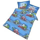 IDO Fein Biber Bettwäsche 2tlg. Blau Traktor 9314-04 Kinder Baby Gitterbett Bettwäsche Bettbezug 40 x 60 cm / 100 x 135 cm