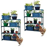 2 x Woodside Greenhouse Storage Shelving Shed Racking Garage Staging Shelves DOUBLE PACK