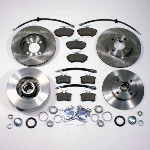Bremsscheiben + Bremsbeläge vorne + hinten mit integrierten ABS-Sensor ringen + Bremsbeläge + Radlager hinten + Bremsschläuche vorne + hinten