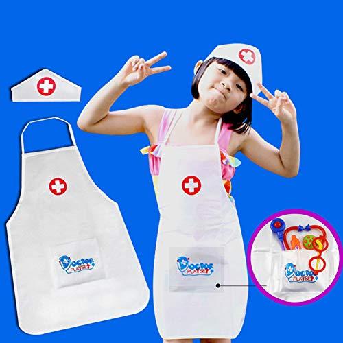 Kinder Rollenspiel Kostüm Krankenschwester, Schürze und Krankenschwester Cap Set Pretend Krankenschwester Spiel für Kinder