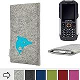 flat.design für Cyrus cm 7 Handy Schutzhülle Faro mit Delphin - Smartphone Schutz Case Etui Made in Germany in Hellgrau Türkis - Handgefertigte Handy-Tasche für Cyrus cm 7