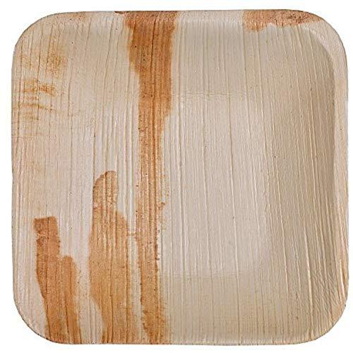 Palmblattteller 25/100/200 Stück Einwegteller eckig 25x25 cm / 20x20cm / 15x15cm, aus Palmblatt 100% kompostierbar, umweltfreundlich stilvoll Palmblattgeschirr Set für BBQ, Party, Grillen Outdoor