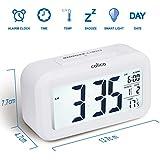 Colico Smart LED Digital Wecker Snooze 5 Minuten, bald aufhören Alarmknöpfe, mit Datum, Temperatur-Sensor-Licht (Weiß)
