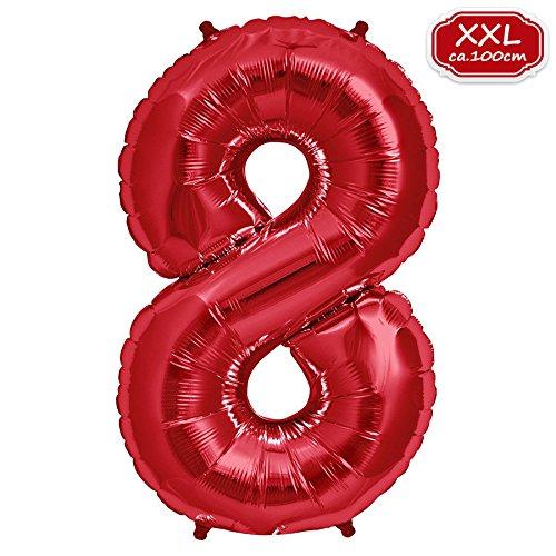 on Zahl [ca.100cm], Rot Luftballon Zahlen für Geburtstag Jubiläum & Party Geschenk partydeko Folienballon Zahlen Luftballons Happy Birthday (8) ()