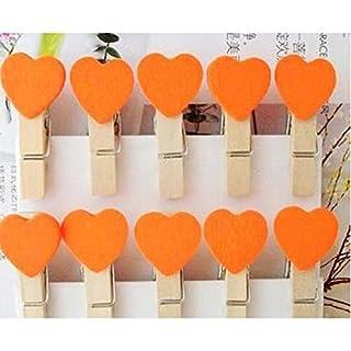 AUAUDATE 10/50/100Pcs Wooden Heart Pegs Clothespins Mini Clip Kid Craft Party Picture Decoration Heart Wooden Peg (10x, Orange)