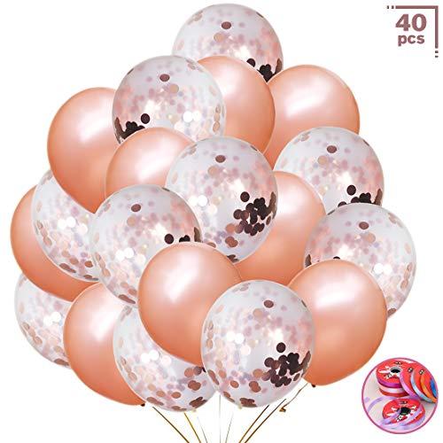 Upstone Rose Gold Konfetti Ballon 40 Stück Premium Latex Luftballons für Hochzeit und Geburtstag,Weihnachten, Brautgeschenke, Baby-Duschen, Valentinstag.