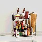 Kitchen organizer Shelves Forniture da Cucina in Acciaio Inox Rack di Stoccaggio, Rack A Lama, Ripiani di Tagliere, 2 Strati (Colore : A, Dimensioni : 50cm)
