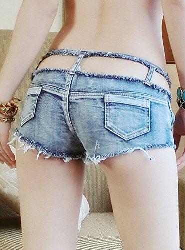 Damen Denim Low Waist Short Loch Kurz Jeans Hot Pants Schlitz Jeans Shorts Hohl Aus Taille Licht Blau Quaste Hot Pants Clubwear Blau