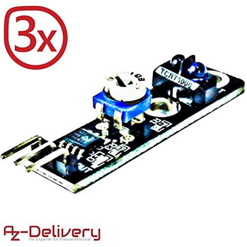 AZDelivery ⭐⭐⭐⭐⭐ 3 x KY-033 Linien Folger Line Tracking Sensor Modul TCRT5000 für Arduino
