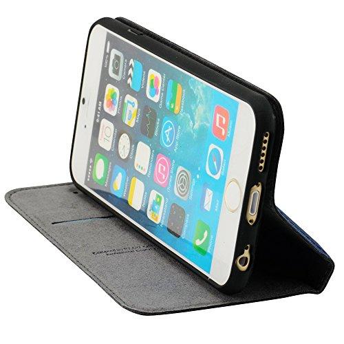 N71- Bookstyle Flipcase für Apple iPhone 6 ( 4,7 Zoll ) Schliessen mit Magnetfunktion , Kartenfach , Standfunktion , Fütterung in Weiß / Rot Dunkelblau