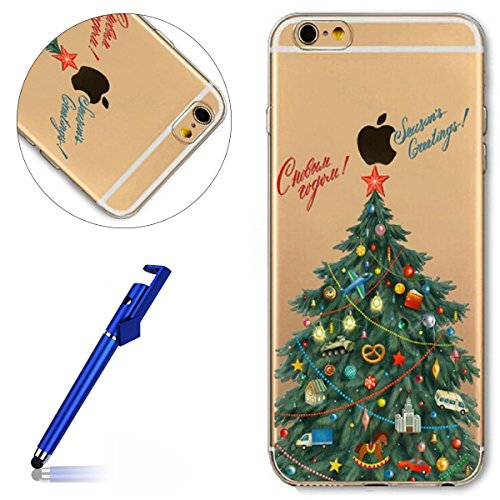 Cover iPhone 6S plus 5.5, Custodia iphone 6 plus, iphone 6S plus Silicone Cover, MoreChioce Varnish Clear Coating Moda Painting Colorato Natale Modello Custodia, Ultra Slim 3d Gel Soft Silicone Gomma Albero di Natale