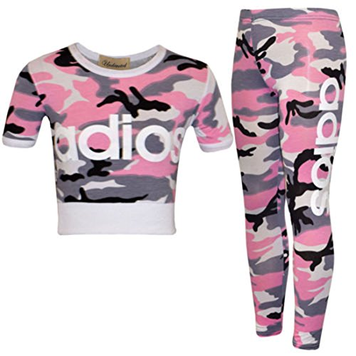 ZET New Kids Girls Adios Camouflage Military Army Crop Top & Legging Age 2-13 Years