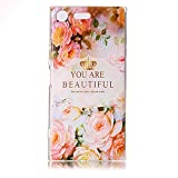 For Sony Xperia XZ Premium Case [not for Sony Xperia XZ] [With Tempered Glass Screen Protector],Qimmortal(TM) Colourful Painting Pattern Soft Gel TPU Silicone Personality relief pattern Scratch Resistant Protective Cell Phone Case Cover For Sony Xperia XZ Premium(Rose)