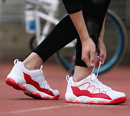 Coppie scarpe traspiranti scarpe casual uomini scarpe da corsa scarpe maglia scarpe ascensore Ms. Autunno white red