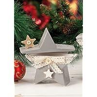 Scatola Natale Ceramica Stella colori assortiti Grigio/Bianco dim. 14,5 x 5 x 14h