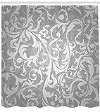 Abakuhaus Duschvorhang, Viktorianisches Art Großes Blatt Blumenmust Abstrakt Silber und Grau Tönen Betont Digital Druck, Wasser und Blickdicht aus Stoff mit 12 Ringen Schimmel Resistent, 175 X 200 cm