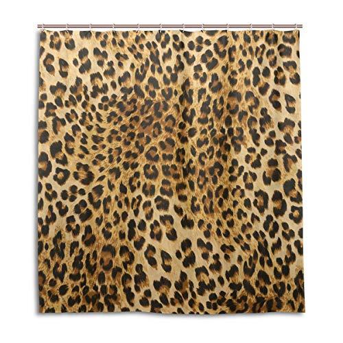 CPYang Duschvorhänge, Wildtier-Leoparden-Print, wasserdicht, schimmelresistent, für Badezimmer, Heimdekoration, 168 x 182 cm, mit 12 Haken -