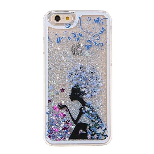 Voguecase® Pour Apple iPhone 4 4G 4S, Argent-sable Luxe Flowing Bling Glitter Sparkles Quicksand et les étoiles Hard Case étui Housse Etui(pissenlit 12/Argent) de Gratuit stylet l'écran aléatoire univ fille avec une fleur bleue